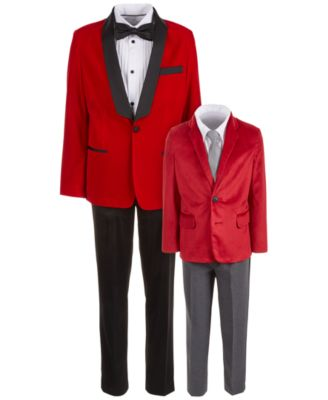 Little Boys Regular-Fit 4-Pc. Red Velvet Suit Set