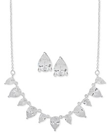 """Silver-Tone Pear-Crystal Statement Necklace & Stud Earrings Set, 16"""" + 3"""" extender"""