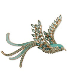 Gold-Tone Crystal & Stone Flying Bird Pin
