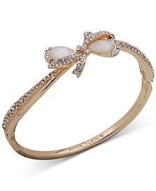 Gold-Tone Pavé & Imitation Pearl Bow Bangle Bracelet