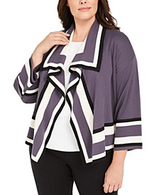 Plus Size Colorblocked Cardigan Sweater