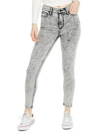 Juniors' High-Rise Acid Wash Skinny Jeans