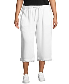 Plus Size Cropped Frayed-Hem Soft Pants