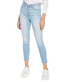 Juniors' Curvy Ripped High-Rise Skinny Jeans