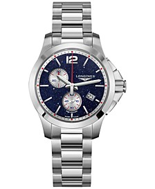 LIMITED EDITION Women's Swiss Conquest Chronograph by Mikaela Shiffrin Stainless Steel Bracelet Watch 36mm