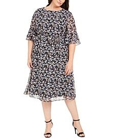 Plus Size Mayfair Floral-Print A-Line Dress
