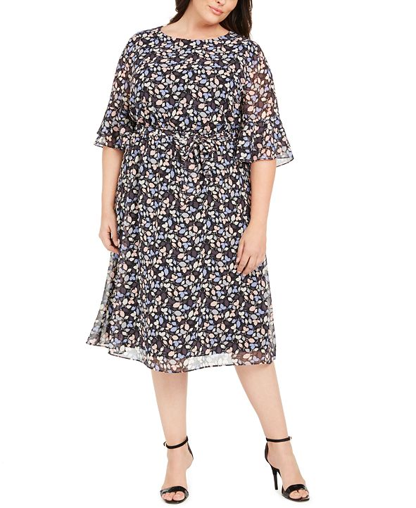 Anne Klein Plus Size Mayfair Floral-Print A-Line Dress