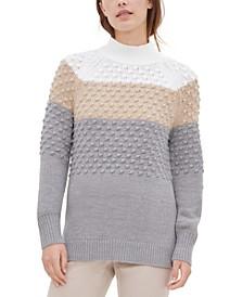 Colorblocked Popcorn-Knit Mock-Neck Sweater