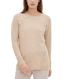 Button-Detail Crewneck Sweater
