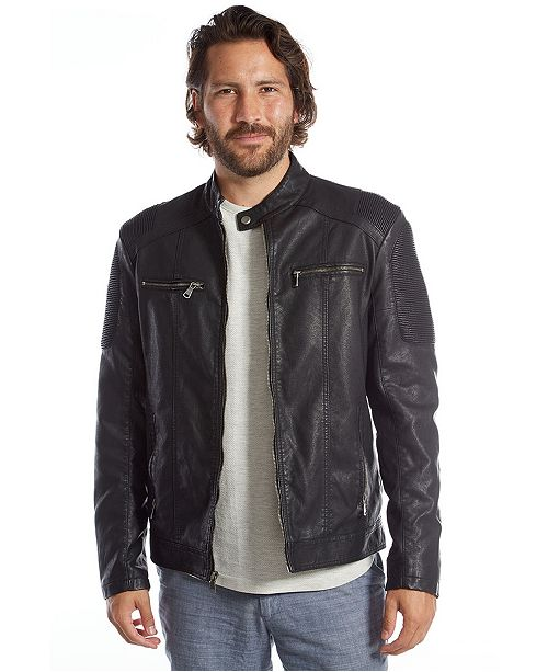 PX Men's Vegan Leather Moto Jacket