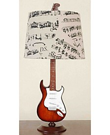 Guitar Desk Lamp with musical notes shade