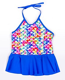 Girls Scale-Print Peplum Tankini Top