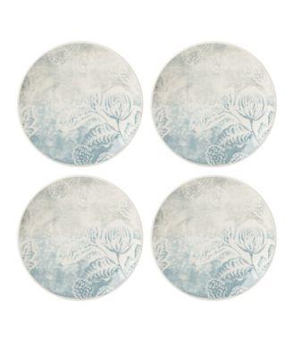 Textured  Neutrals Floral Accent Plates Set/4
