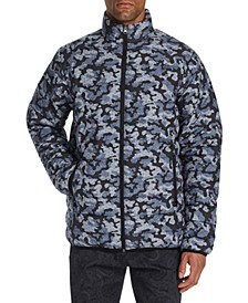 Men's Slim-Fit Water Resistant Camo Leopard Print Puffer Jacket