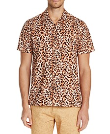 Men's Slim-Fit Performance Stretch Cheetah Short Sleeve Camp Shirt