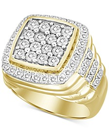 Men's Square Cluster Ring (3 ct. t.w.) in 10k Gold