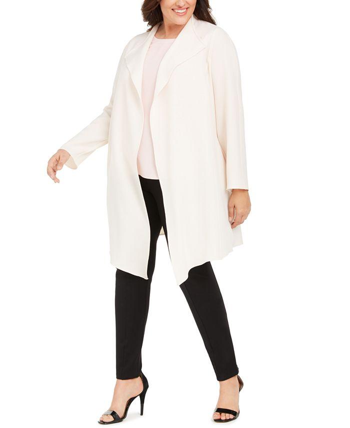 Anne Klein - Plus Size Melange Drape-Front Cardigan