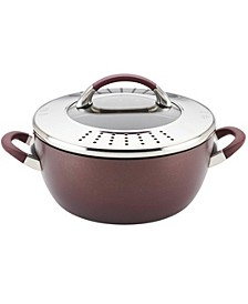 Symmetry Merlot Hard-Anodized Nonstick 5.5-Quart Covered Straining Casserole