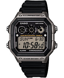 Casio Men's Digital Black Resin Strap Watch 42.1mm