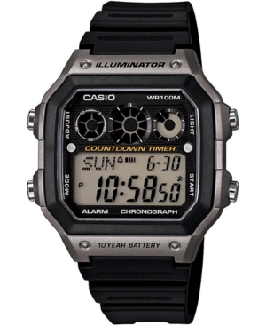 Men's Digital Black Resin Strap Watch 42.1mm