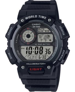 Men's Digital Black Resin Strap Watch 45mm