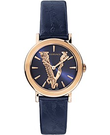 Women's Swiss Virtus Blue Leather Strap Watch 36mm