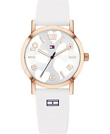 Women's White Silicone Strap Watch 30mm, Created For Macy's