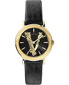Women's Swiss Virtus Black Leather Strap Watch 36mm
