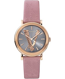 Women's Swiss Virtus Pink Leather Strap Watch 36mm
