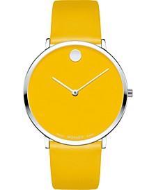 Swiss Modern Yellow Leather Strap Watch 40mm