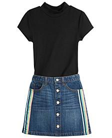 Big Girls Ribbed T-Shirt & Denim Skirt, Created For Macy's