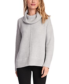 Mixed-Stitch Cowlneck Sweater