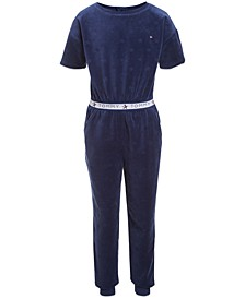 Little Girls Velour Star Jumpsuit