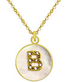"White Mother-of-Pearl Crystal Initial Pendant 18"" Necklace in Gold-Plate"