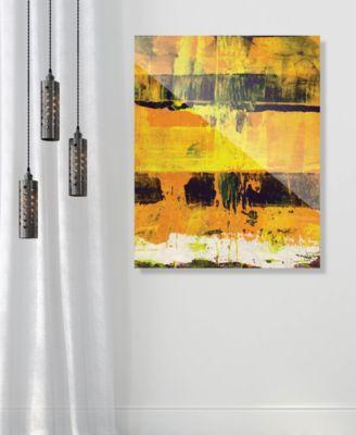 "Shikoku in Yellow Abstract 24"" x 36"" Acrylic Wall Art Print"