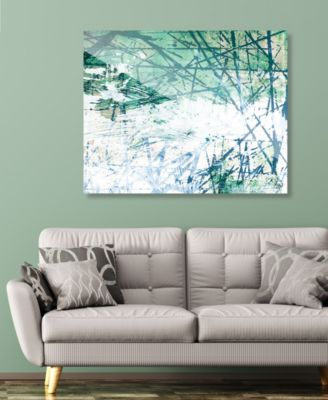 """Green Lined Wall with White Abstract 24"""" x 36"""" Acrylic Wall Art Print"""