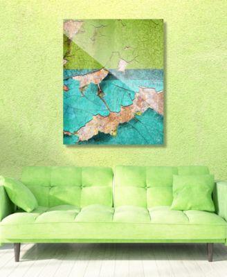 "Duality Grunge Green Teal Abstract 16"" x 20"" Acrylic Wall Art Print"