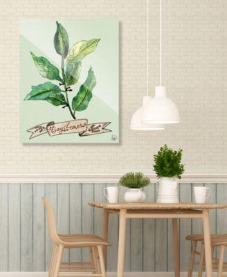 "Watercolor Bay Leaves on Green 20"" x 24"" Acrylic Wall Art Print"