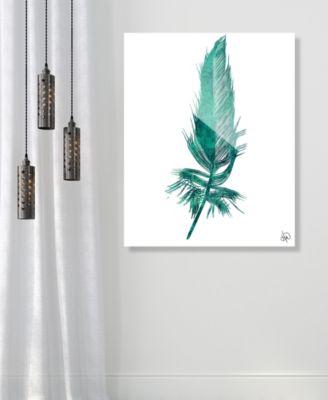 "Seafoam Feather on White 16"" x 20"" Acrylic Wall Art Print"