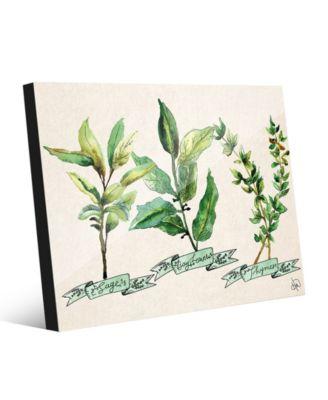 Herb Trio in Green on Tan 24