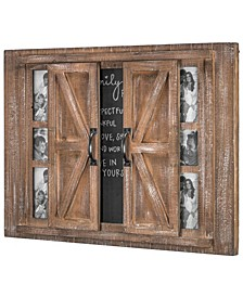 American Art Decor Rustic Wood Photo Collage Picture Frame with Mirror