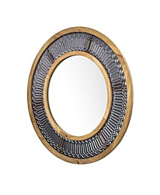 American Art Decor Rustic Wood and Framed Wall Mirror