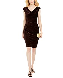 Petite Cowl-Neck Velvet Dress