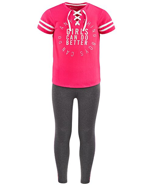 Ideology Big Girls Lace-Up Better-Print T-Shirt & Side-Stripe Leggings, Created For Macy's