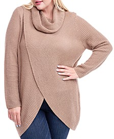 Plus Size Cowl-Neck Crossover Sweater