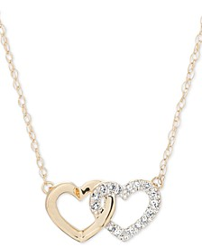 "Diamond Double Heart 16"" Pendant Necklace (1/10 ct. t.w.) in 14k Gold"
