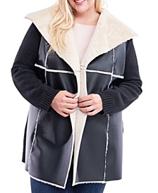 Plus Size Faux-Shearling Sweater Jacket