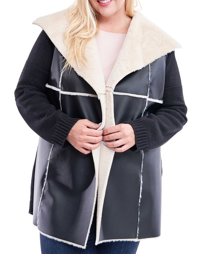 Fever - Plus Size Faux-Shearling Sweater Jacket