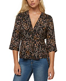 Juniors' Martha Printed Wrap Top