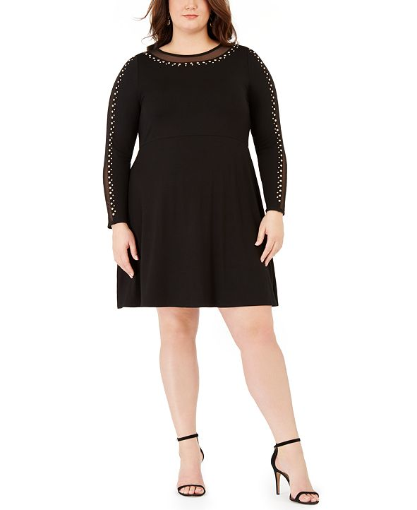 Belldini Plus Size Studded Mesh-Trimmed Fit & Flare Dress